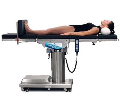 Model on top of a Skytron 6302 Elite surgical table