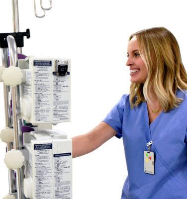 Nurse push IV transportation pole