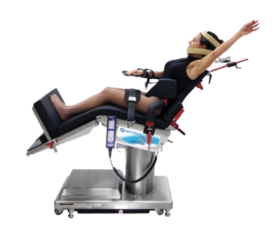 Model in the surgical beach chair position on a Skytron 3602 UltraSlide Table