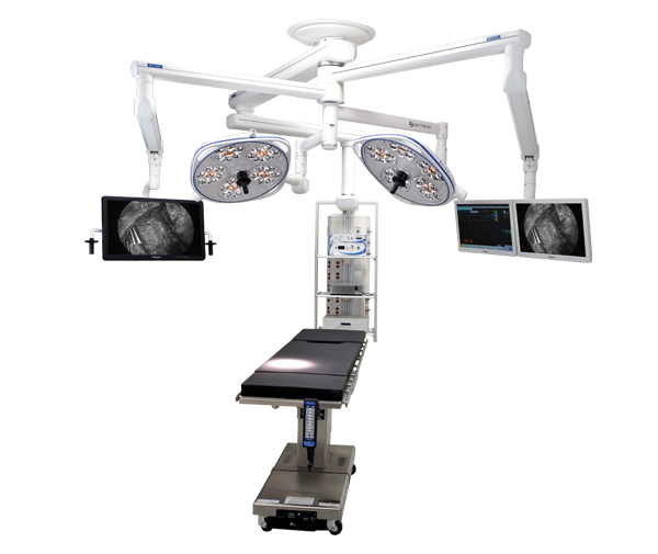 Skytron's surgical table with Freedom equipment booms and Aurora Four surgical LED lights